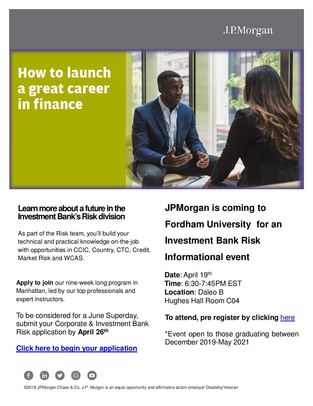 U) JPMorgan: How to Launch a Great Career in Finance