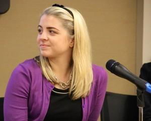 Fordham junior Emily Raleigh listens to a speaker at an event celebrating Women's Entrepreneurship Day.