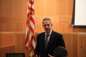 Retired Gen. Peter Pace talks to Fordham University students on Wednesday, Nov. 19.