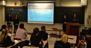 Students pitch Gilead Sciences stock during a recent Smart Woman Securities competition.