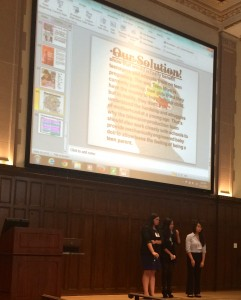 A team from the Academy of Mount Saint Ursula makes a presentation during the Catholic Interscholastic Business Challenge, held in Keating Hall on Fordham's Rose Hill campus.