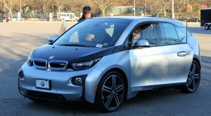 Electric BMWs were brought to Fordham University as part of a lesson in sustainable businesses.