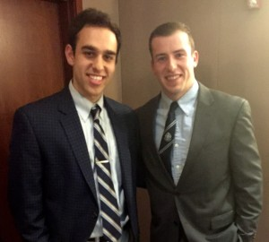 From left, Daniel Sixsmith and NFL placekicker Patrick Murray at the Fordham Sports Business Symposium held on March 26.