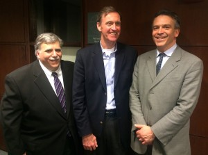 From left, Gabelli School of Business Assistant Dean Vincent DeCola, S.J., author Chris Lowney and Gabelli School of Business Associate Dean for Academic Programs Francis Petit talk after Lowney's presentation on March 3.