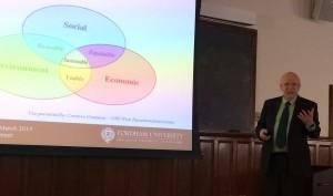 Associate Professor Frank Werner speaks during a presentation during Sustainability Week.