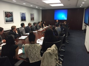 Students with the Fordham Business of Sports Society meet with executives of the Brooklyn Nets.