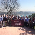 Students in the Executive MBA program at Lincoln Center went to Bogazici University in Turkey. This photo was taken with the Bosphorus in the background.