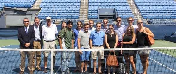 Fordham's 3CMGM gather on the Grandstand Court at the National Tennis Center in Queens.