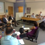 EMBA students listen to a presentation during a June study tour of Ireland.