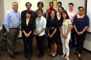 Interns in Fordham's STEP program gather with graduate assistants and staff following a presentation on Aug. 4.