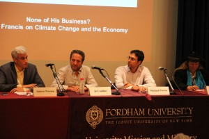 From left, Andrew Winston, Jo Confino, Michael Pirson and Hunter Lovins discuss Pope Francis' views on climate change.