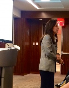 Dean Dona Rapaccioli talking to students at a Town Hall meeting on Tuesday, Oct. 6, 2015.