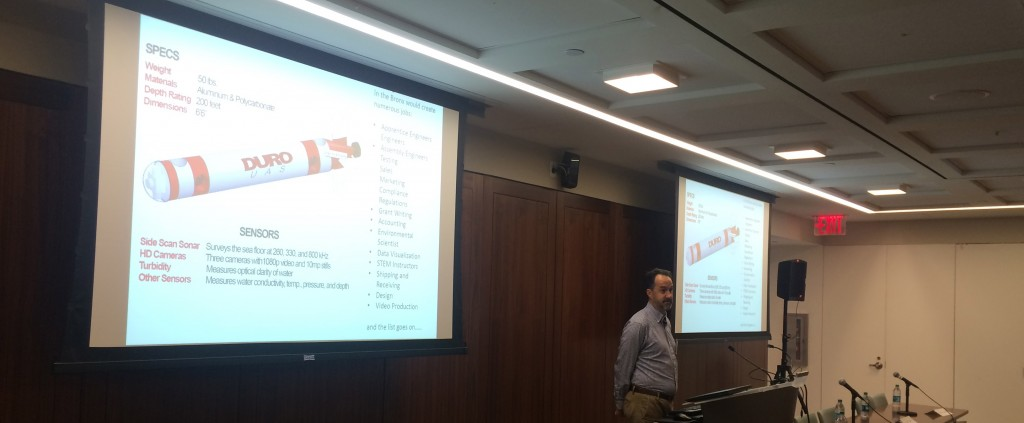 Brian Wilson of DURO UAS speaks at the Fourth Annual Bronx Summit on Technology Innovation and Start Ups, held Oct. 14, 2015.