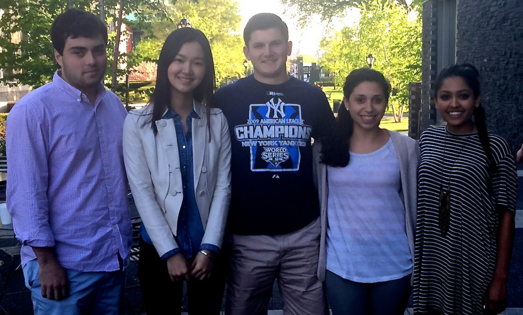 The five members of the Fordham team that won honorable mention in the annual Deloitte FanTaxtic Regional Competition recently.