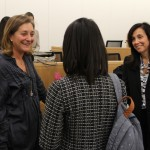 Fran Horowitz, at left, brand president of Hollister Co. and Dean Donna Rapaccioli, right, speak with a student after Horowitz spoke at an International Business Week event on Wednesday, Nov. 18, 2015.