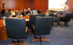 Ronald Paul HIll, of Villanova University, speaks to members of the Fordham University marketing faculty.