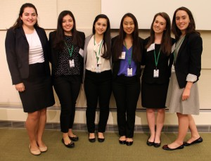 From left, Fordham University students Lauren Kelly, Lorem Basile, Emilie Frangione, Jenna Florendo, Jennifer Dunn and Elizabeth Fonger at the Smart Woman Securities stock-picking competition in Boston on Dec. 4, 2015