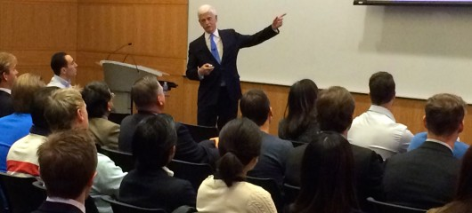 Mario Gabelli speaks to a group of Fordham MBA students on Monday, Nov. 30, 2015.