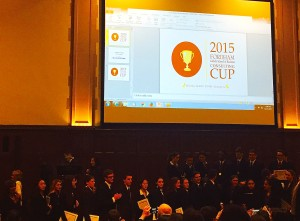 It was a standing-room-only crowd at the 2015 Consulting Cup competition, held at Keating Hall in December. (Photo by Bailey Link)