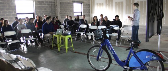 Fordham Full-Time Cohort MBA students listen to a presentation about NYC Bike Share during Immersion Week.