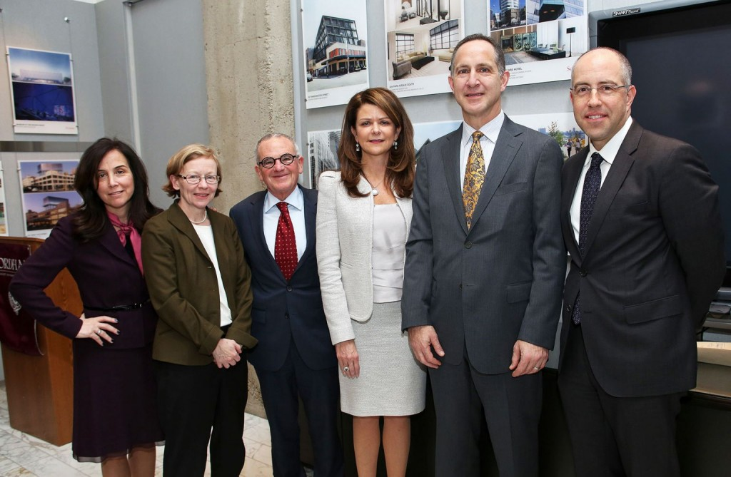 (From left) Donna Rapaccioli, dean of the Gabelli School of Business; Maura Mast, dean of Fordham College at Rose Hill; Stephen Freedman, provost; MaryAnne Gilmartin, FCRH '86; Kevin Mirabile, clinical associate professor of finance and business economics; and Nestor Davidson, associate dean for academic affairs at the law school. Photo by Bruce Gilbert