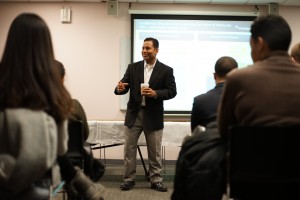 PepsiCo's Girish Gupta talks to an audience at Fordham University. (Photo by Victoria Cleveland)