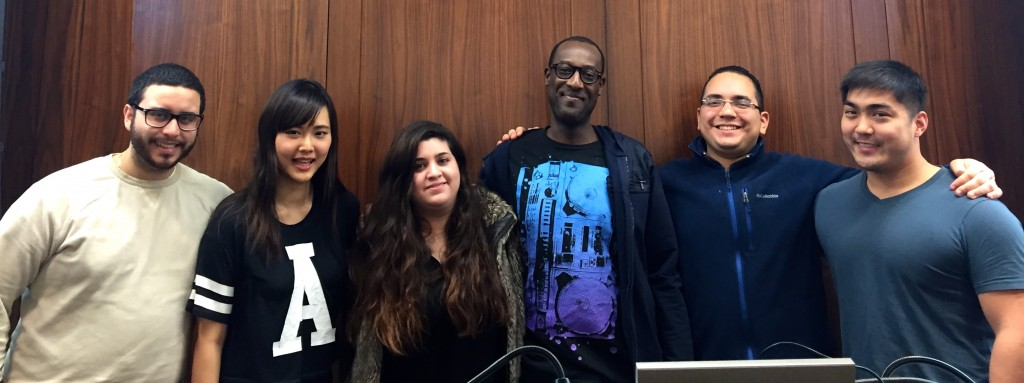 Shema Kalisa, founder of Gojimgo, with several members of the Fordham Digital Business Society. (Photo by Bailey Link)
