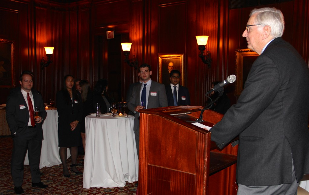 James Kelly, director of Fordham's Gabelli Center for Global Security Analysis, speaks to a group of alumni at the University Club on 54th Street.
