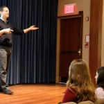 Ron Suber, president of Prosper Marketplace, talks to Fordham University students during an April 13, 2016, visit.