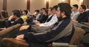 Fordham University students listen as Ron Suber, president of Prosper Marketplace speaks on April 13, 2016.