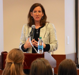Cathy Engelbert, CEO of Deloitte USA, speaks to a group of Fordham students during the Women in Leadership Conference on April 8, 2016.