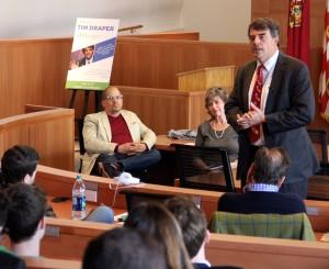 Venture capitalist Tim Draper talks to Fordham University students during a April 14, 2016, visit.