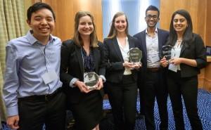 From left, Travis Navarro, Abigail Ahern, Kara Norton, James Kodi and Alisha Mehndiratta, all BS '16, performed well at the 2016 International Business Ethics Case Competition.