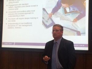Roger O'Donnell, global head of data analytics at KPMG, speaks to Fordham University students in March 2016.