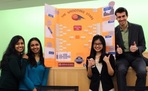 From left, Armi Thassim, Pritha Sinha, Nan (Miya) Wang and John DeMartino – known as The Shooting Stars – winners of the 2016 March Data Crunch Madness competition.