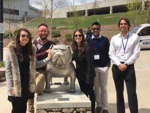 From left, Christianna Wymbs, Joe Delgrande, Danielle DiGrazia, James Kodi, and Federico Giustini, all BS '16, in North Carolina for the National Conference on Undergraduate Research. All five will be presenting their papers at the Gabelli Undergraduate Business Research Conference on April 13.