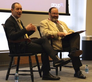 From left, Rob Norman of GroupM and Robert Picard, president of the World Media Economics and Management Conference, talk on Thursday, May 5, 2016.