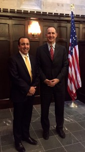 From left, James Costabile, BS '97, stands with Kevin Mirabile, director of Fordham's alternative investments program.