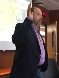 Paul Cimino, tech entrepreneur and data strategist, talks to members of the Fordham University CIO Roundtable on Friday, June 24, 2016.