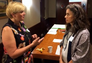 From left, Susanne Stormer of Novo Nordisk talks with Carey Weiss, Fordham University's coordinator of sustainable initiatives.