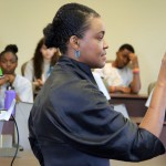 Rose Kirk, president of the Verizon Foundation, speaks to students in the Summer Technology and Entrepreneurship Immersion Program, held at Fordham University this summer.