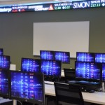 The electronic-trading floor is located on the first floor of the new home of the Gabelli School of Business at Lincoln Center. (Photo by John Schoonejongen)